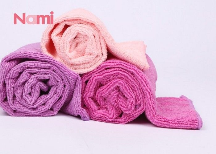Pink Quick Dry Hair Drying Towel Wrap Eco - Friendly With Embroidered Logo